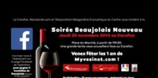 Venez fêter le 1er anniversaire de Myvesinet.com jeudi 20 novembre au Carafon à l'occasion du Beaujolais nouveau !