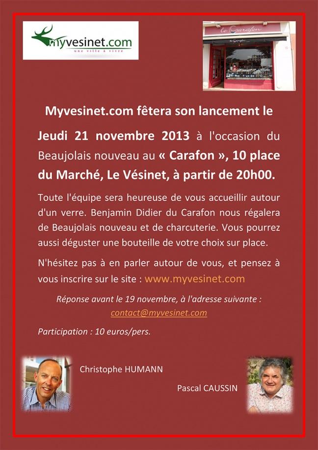 Lancement de myvesinet.com le 21 novembre au Carafon