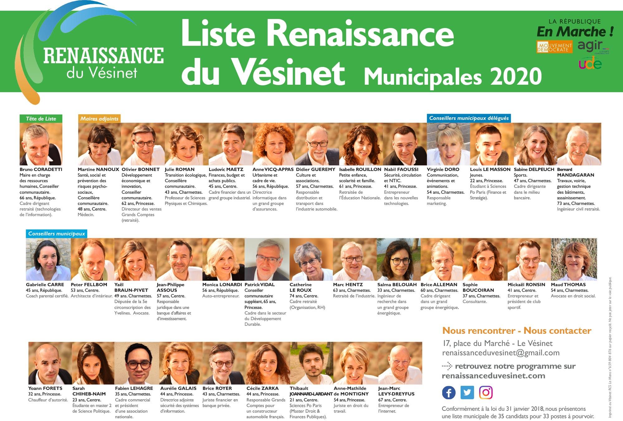Liste Renaissance du Vésinet Municipales 2020
