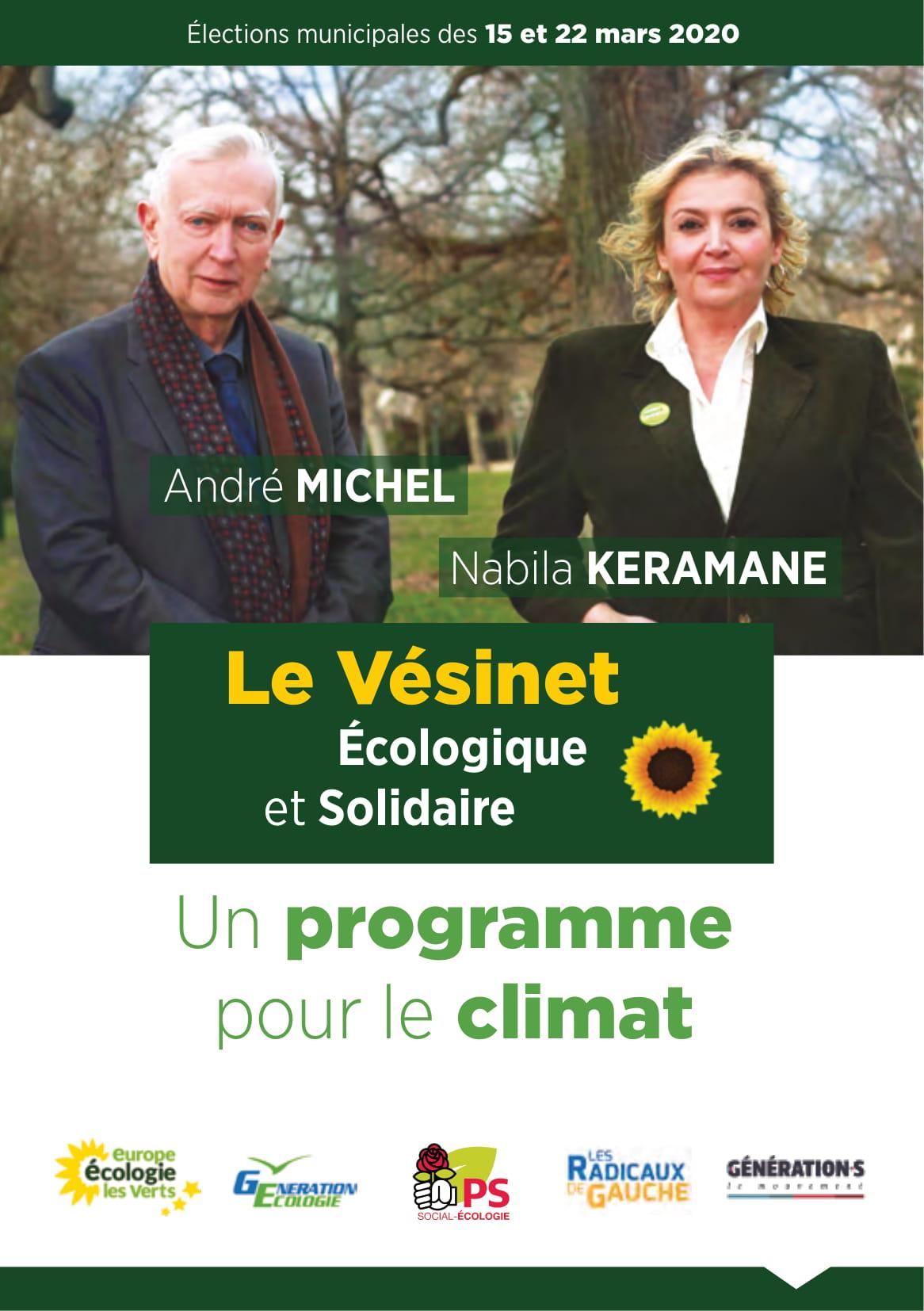 Liste « Le Vésinet – Ecologique et Solidaire », menée pour ces élections municipales 2020, par André Michel et Nabila Kéramane .