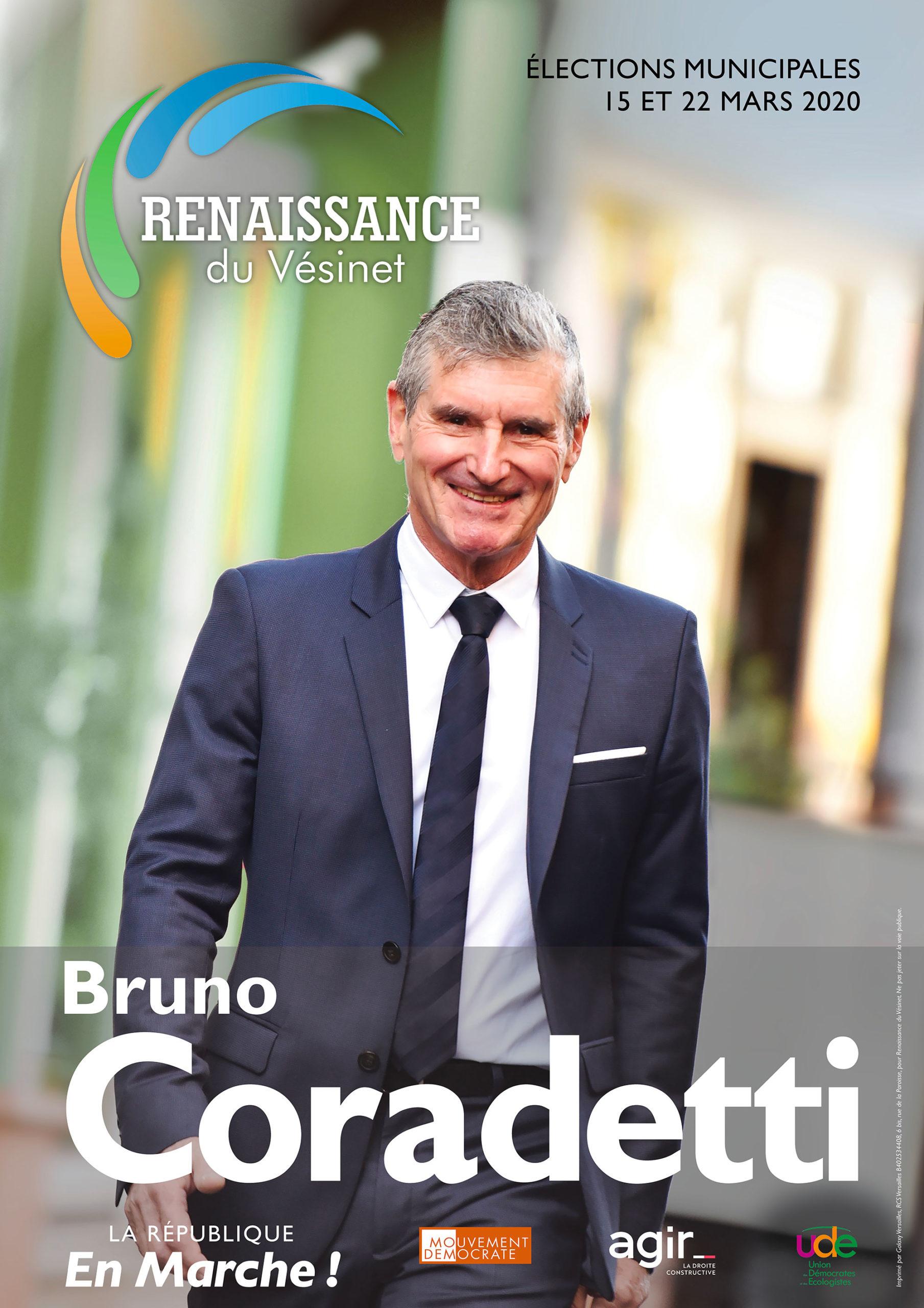 Bruno Coradetti (Renaissance du Vésinet) - Notre liste Renaissance du Vésinet est une équipe 100% nouvelle, solide et solidaire pour dessiner le Vésinet de demain